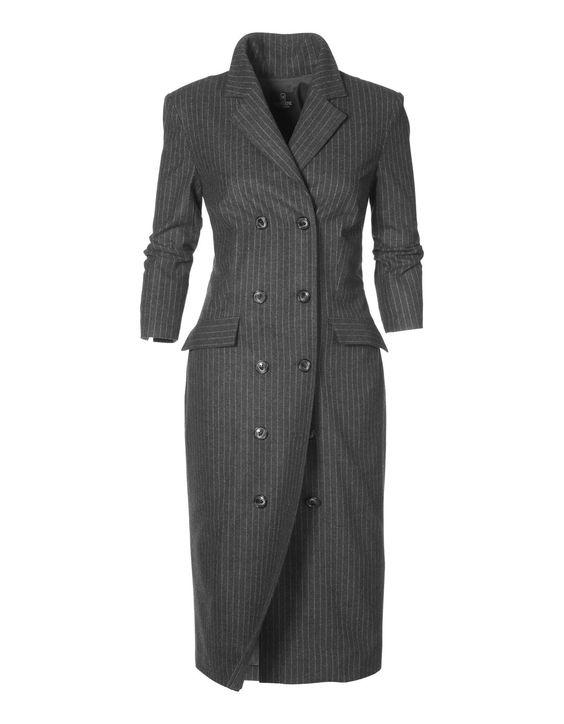 Mantelkleid in Nadelstreifen-Dessin in der Farbe anthrazit - grau - im MADELEINE Mode Onlineshop
