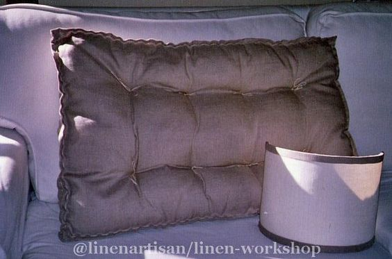 Quilted Cushion mattress in linen,Tufted cushion, Futon cushion, Knotting pillow quilt, French cushion mattress,