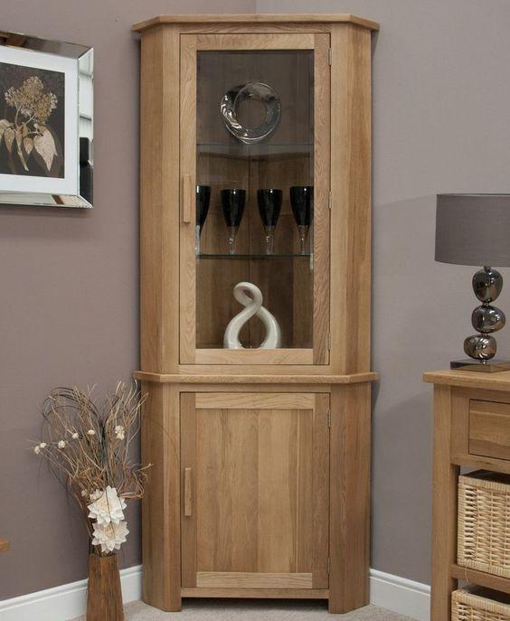 Eton solid oak living room furniture corner display cabinet unit with light