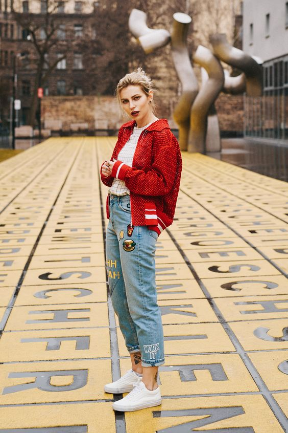 sporty and playful style | view more details on my blog | red bomber jacket from Gauchère, jeans with patches from Zara, white Vans sneakers | fashion and street style | Berlin