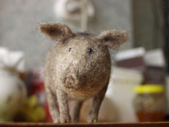 needle felted hog