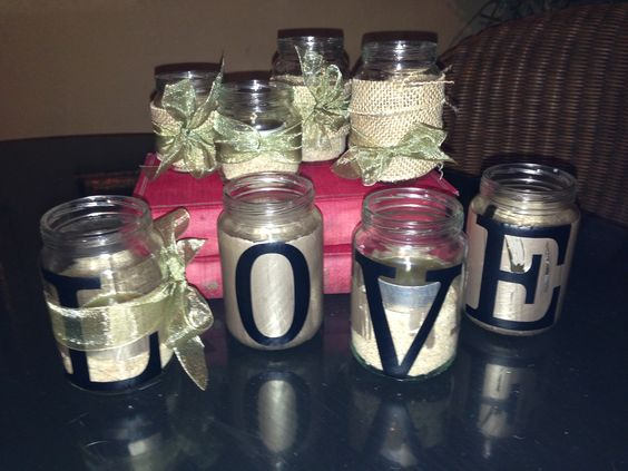 Babe food jars, made to candle holders