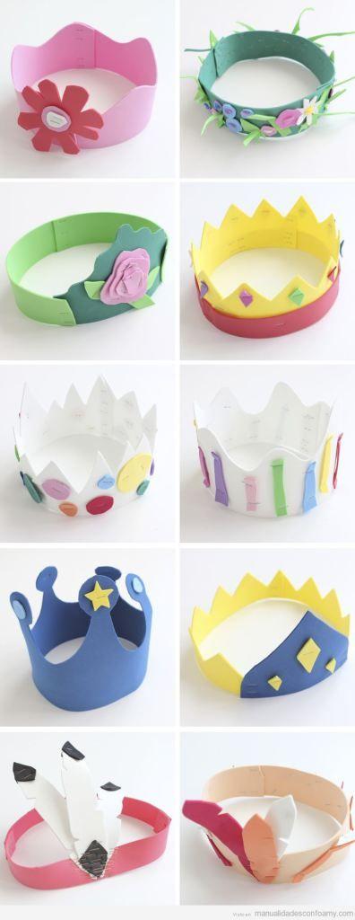 Manualidades en goma eva, coronas de reinas y princesas para fiestas infantiles
