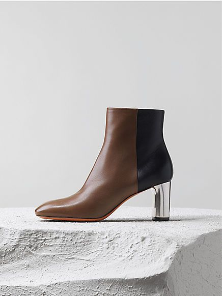 90MM KHAKI  NAVY LAMBSKIN BAM BAM ANKLE BOOT, Céline pre-fall 2014