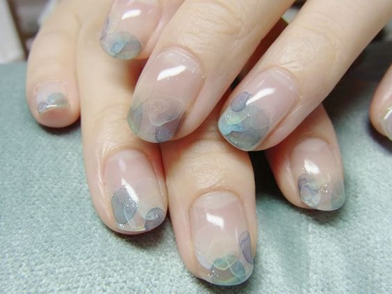Super chic watercolour nail art by Japanese nail salon, Nail Common.: