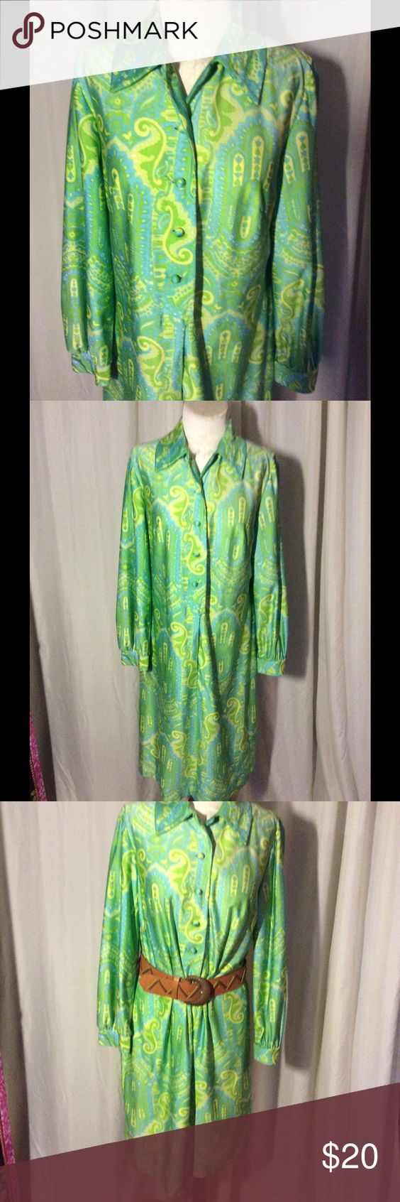 Selling this 1970s Kelly green and yellow shift dress on Poshmark! My username is: patriciamildred. #shopmycloset #poshmark #fashion #shopping #style #forsale #Vintage #Dresses & Skirts
