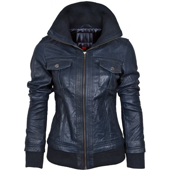 handmade women blue Leather Jacket rib collar women by ukmerchant