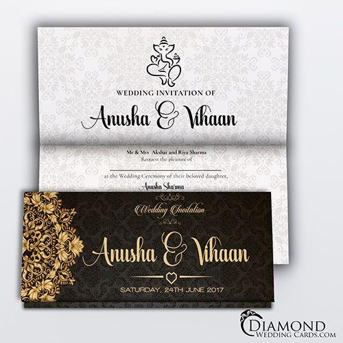 Black Royal Hindu Wedding Card Light Version Desain Undangan Perkawinan Undangan Pernikahan Undangan Perkawinan - Perkawinan Hindu, Apa Kewajiban Suami Istri Dalam Perkawinan Hindu Tribun Bali