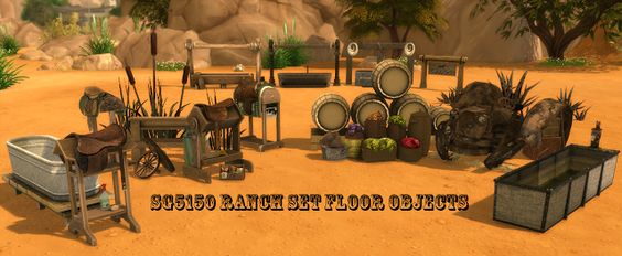 Sims 4 CC's - The Best: Ranch Set Floor Objects by sg5150