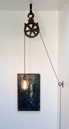 Meine beliebte Riemenscheibenlampe ist jetzt ein Bastelset! Die fertige Lampe ... - Diy Holz