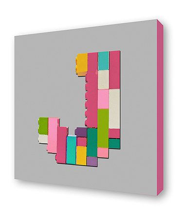 Another great find on #zulily! Gray Brick Initial Wrapped Canvas by Lex Modern #zulilyfinds
