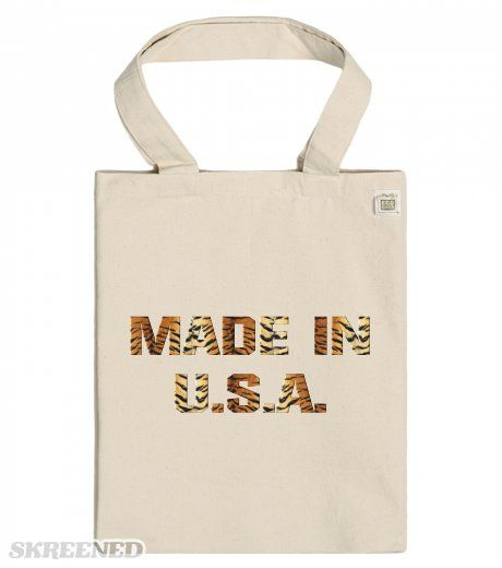 Made In USA | EcoBag Recycled Cotton Tote with Pocket / Natural with tiger print made in USA lettering #Skreened