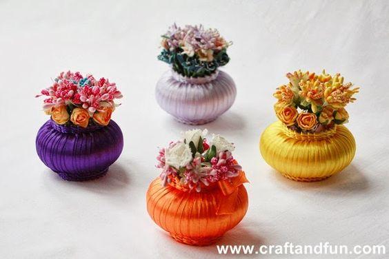 DIY Ribbon and Soap Flower Basket: