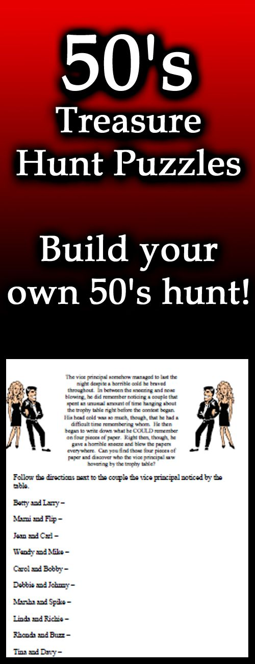 Treasure Hunt Puzzles 3 1950s Downloads for a great 1950s Party! Party Game Sheets and more 1950s Bingo