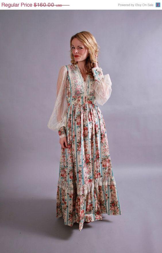1970s gunne sax dress. 70s new old stock maxi length ...