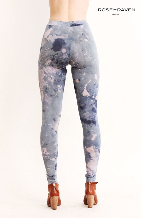 High waisted Leggings made from hand dyed / bleached jersey Blue pale pink. €49.99, via Etsy.