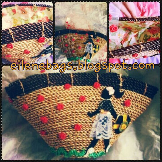 enatural fibers bag with shopping girl ornament by eilenebags.blogspot.com