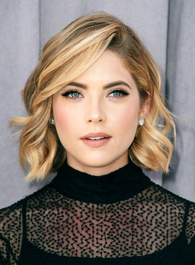 Ashley Benson Short, Curly, Blonde, Bob Hairstyle: