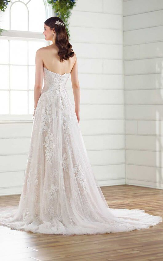 Strapless A Line Wedding Dress With Cotton Lace Essense Of