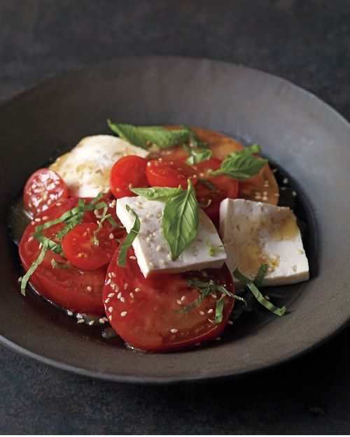 Tofu with Tomatoes, Basil, and Mint: The Caprese goes east, with milky slabs of tofu standing in for the mozzarella, Wholeliving.com