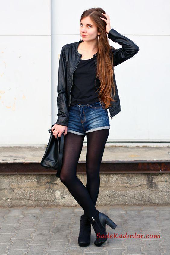 2021 Yili Kislik Bayan Sort Kombinleri Lacivert Kisa Kot Sort Siyah Bluz Siyah Kisa Deri Ceket Siyah Bluz Kot Sort Tarz Moda