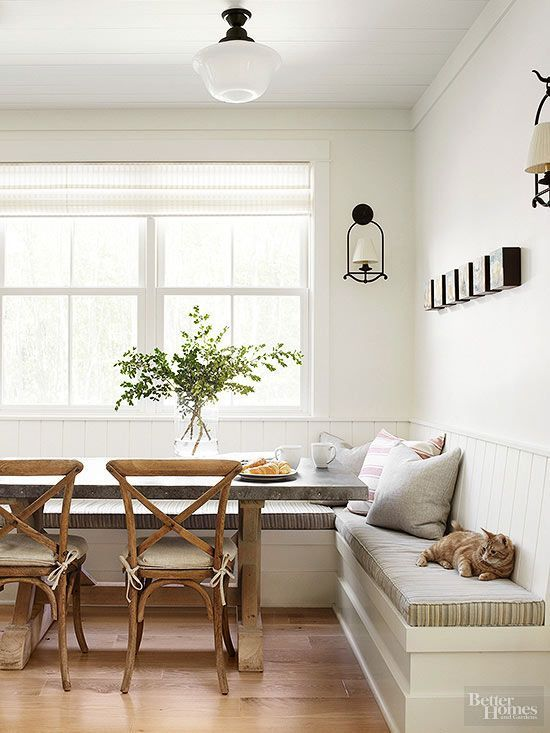 Love The Casual Farmhouse Feel Of This Kitchen Nook Living Pinterest Kitchens Style And Banquettes