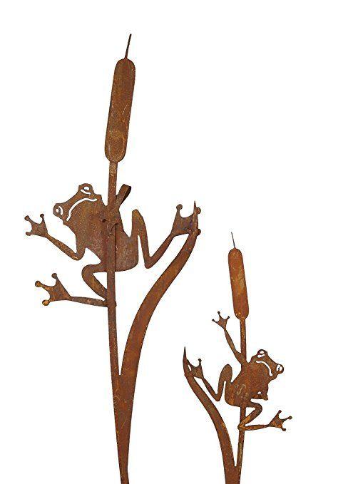 Edelrost Gartenstecker Frosch Deko Gartenfigur Gartendekoration Rostfigur Figur