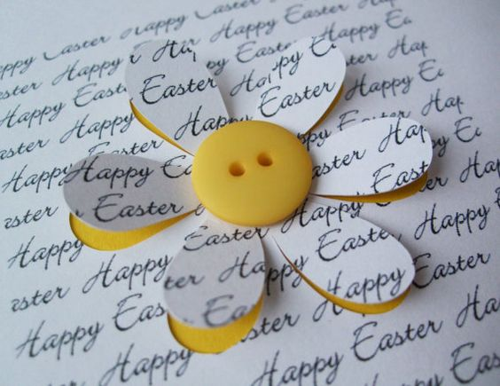 Easter Card  Button Flower  Paper Cut Flower  by Nikelcards