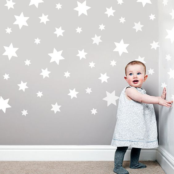 Grey Star Wall Decor : White star wall decals stickers removable grey walls