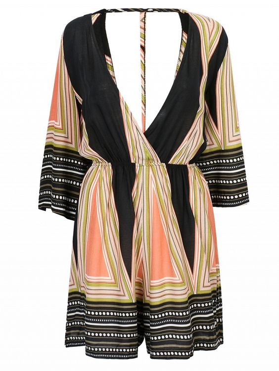 Non-stretch woven fabric;Geo printed;V neckline;3/4 sleeves;Open back design;Hand wash cold;100%Polyester