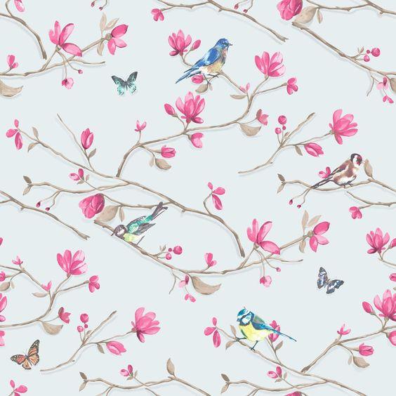 Oriental Lanterne oiseaux Nuages papier peint Bleu Blanc Rose Pâte mur Holden Kyoto