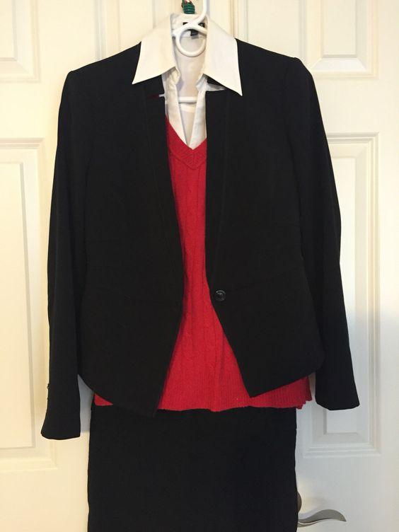 Black pant or black skirt, white collar shirt, red sweater, black jacket