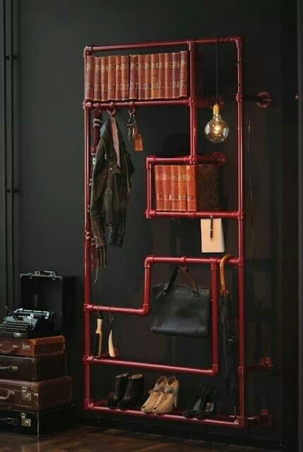 Diy steampunk industrial shelving for the home for Steampunk furniture diy