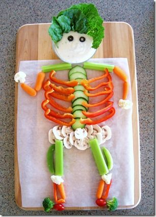 A veggie skeleton - fun way for kids to eat veggies and would be so cute for halloween