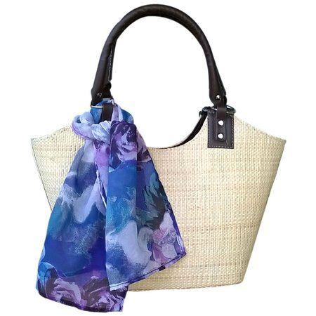 Bolsa em Palha de Buriti Crua com Lenços de Estampas: animal print, tie dye, oncinha, floral, flores