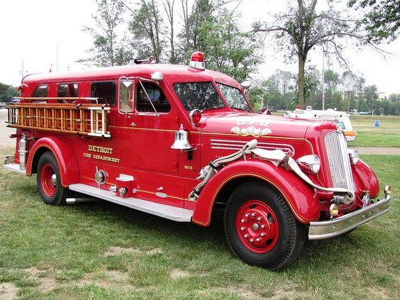 Former fire truck of the Detroit, MI Fire Department. 1951 Seagrave covered pumper...This one may have still been in service and hard at work around the time of the 1967 Detroit riots. Private owner.