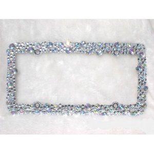 Bling Crystal Ab Color Rhinestone License Plate Frame