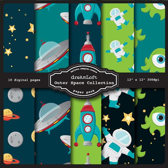 Outer space digital paper pack perfect for stationary for Outer space paper
