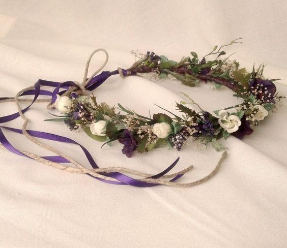 2013 Wedding Trends bridal Hair flower accessories cottage Country chic headwreath purple plum Wildflower Hairpiece Hippie headband garden