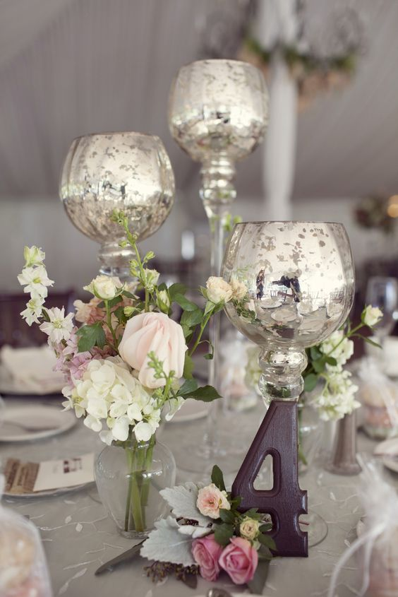 Mercury glass votive centerpieces