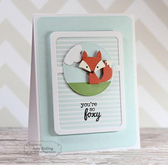 You're So Foxy card by Amy Kolling (Taylored Expressions Punny Love; Little Bits-Fox; Pockets & Pages dies):