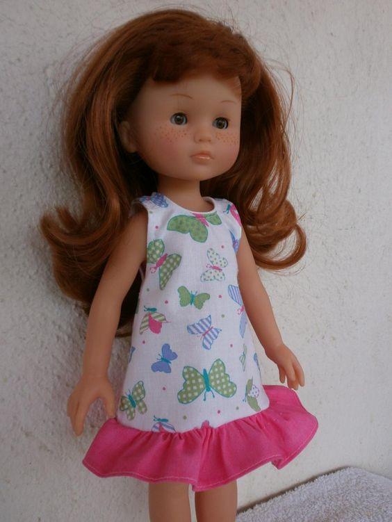 Robe d'été motifs papillons pour poupée Chérie. MCL Poupées, vêtements pour les poupées et les poupons