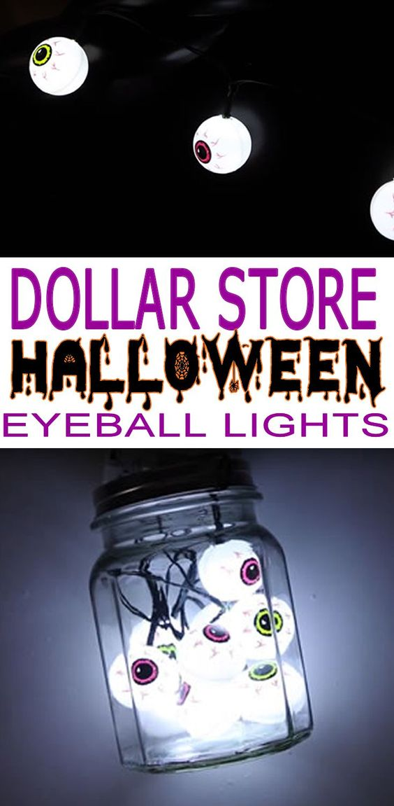 Dollar Store Halloween Decorations! Easy, spooky, creepy and cute DIY craft projects for Halloween. Dollar Store Hacks for Halloween decor. Make your home look amazing with simple DIY Dollar Tree Halloween decoration ideas! Try these spooky bloodshot eyeball string lights. You can even make a mason jar full of eyeballs!