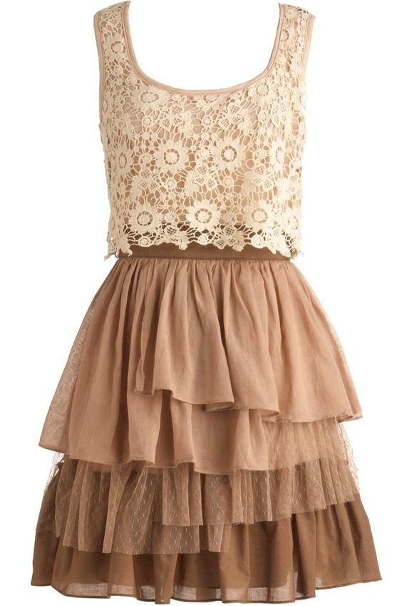 Country Truffles Dress: Features a romantic lace bodice with sleek exposed rear zipper, floral lace applique peeking over the edge of a nipped and neat waistband, and a waterfall of ruffles cascading asymmetrically down the skirt to finish.: Brown Lace Bridesmaid Dress, Country Bridesmaid Dresses, Country Lace Dress, Cowboy Boots, Country Truffles, Lace Top, Lace Country Dress, Country Summer Dress, Brown Bridesmaid Dresses