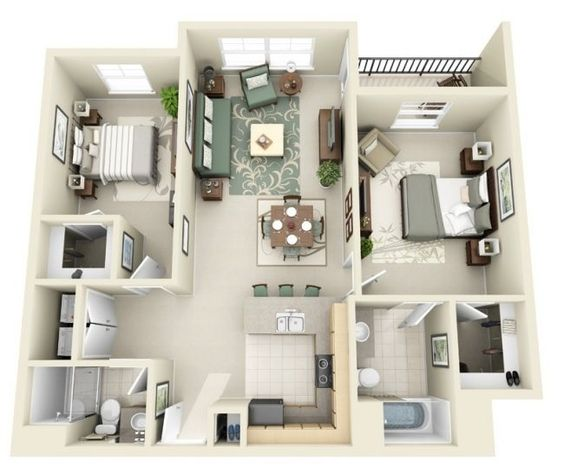 50 plans 3d d 39 appartement avec 2 chambres 3d - Lay outs idee klein appartement ...