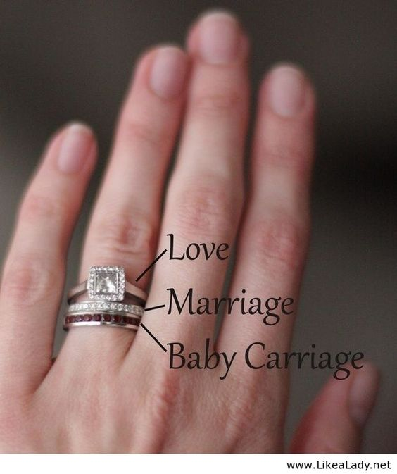 Perfect push present a band with the babys birthstone. And It has the 1 comes love 2 comes  marriage then a baby carriage .