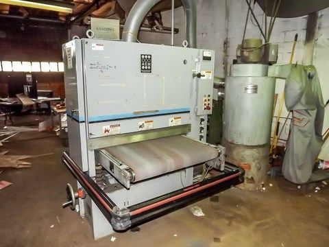 """ABRASIVE ENGINEERING & MFG. TIME SAVER BELT SANDER, MODEL No. 501-37 METAL, S/N: 01258-MO-7625, 36"""" WITH HAMMOND DUSKOLECTOR MODEL No. DK8, S/N: 9456, 220 VOLT, 3 PHASE  Online Auction of Stamping & Fabricating Facility With Product Line and Website - Bidding Open Now Through April 16th Bidding Starts to Close at 1:00 PM/Eastern on the final day of bidding  http://www.acceleratedbuysell.net/cgi-bin/mnlist.cgi?perillo63%2Fcategory%2FALL"""