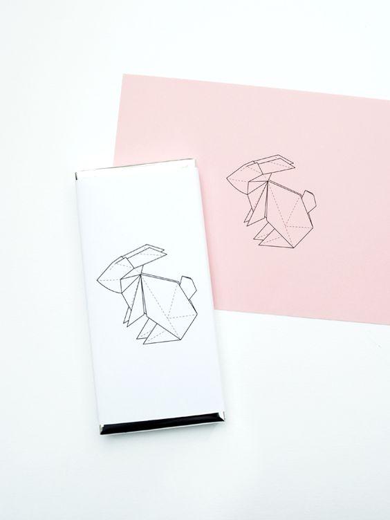 Origami rabbit // chocolate wrapper Origami, Rabbit and Rabbit