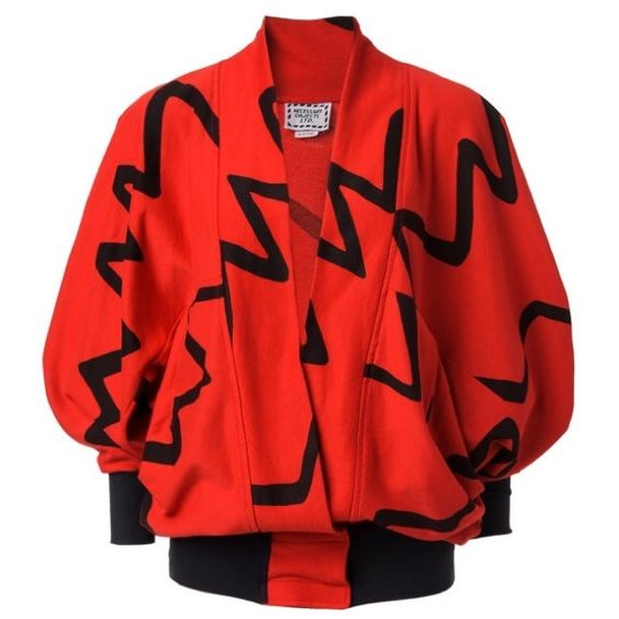 Black and red vintage graphic batwing top, OS This '90's era red and black top with batwing sleeves is funky fresh, dressed to impress and ready to party.. Stylish casual wear with velcro enclosure at the waist. Can we born with a tank top or lightweight shirt underneath.     Measurements:    One Size Fits All    Condition- Good Vintage Condition Tops Sweatshirts & Hoodies