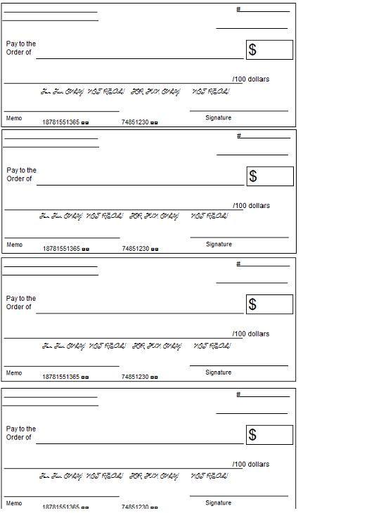 printable play credit card templates | Printable Play Checks